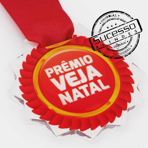 Medalha em acrílico para premiação de competições Prêmio Veja Natal