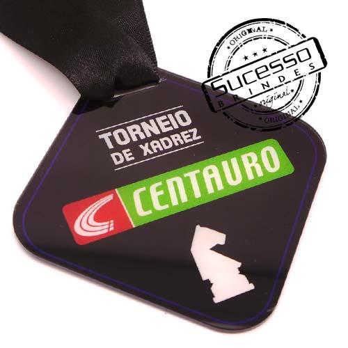 Medalha em acrílico para premiação de competições Centauro Torneio de Xadrez