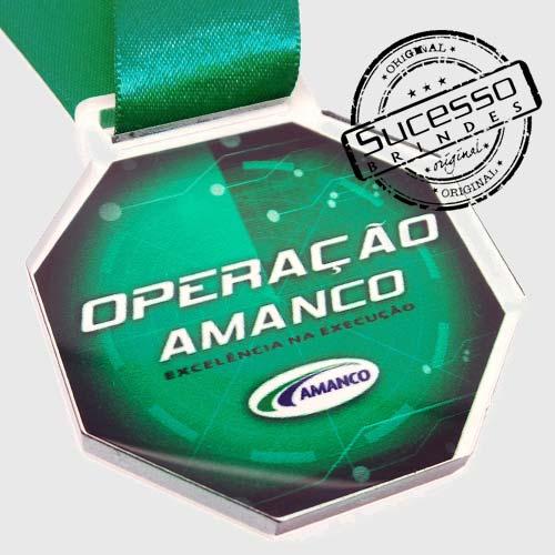 Medalha em acrílico para premiação de competições Operação Amanco
