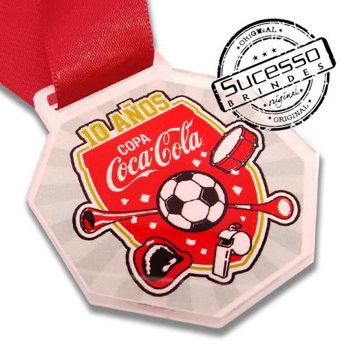 Medalha em acrílico para premiação de competições Coca-Cola