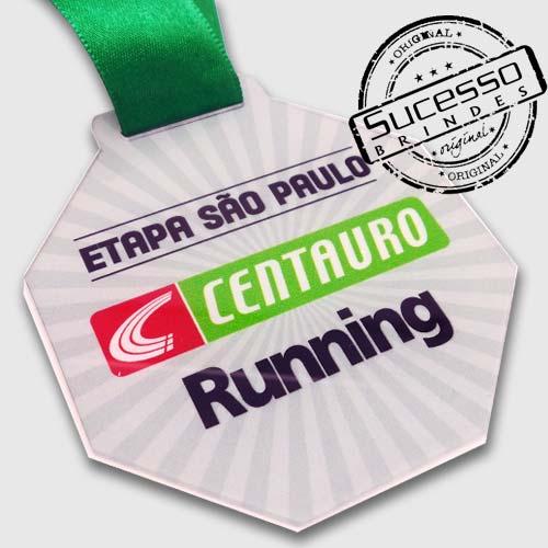 Medalha em acrílico para premiação de competições Centauro Running