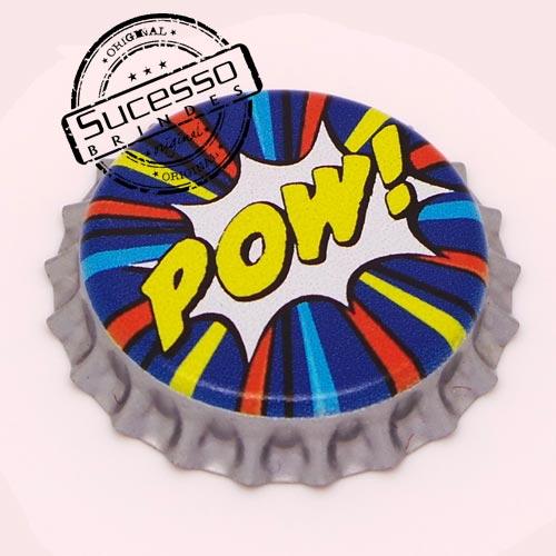 Pin em metal no formato de tampa de garrafa personalizado, tampinha, refrigerante, abridor de garrafa, Pow, Marvel, quadrinhos, cartoon