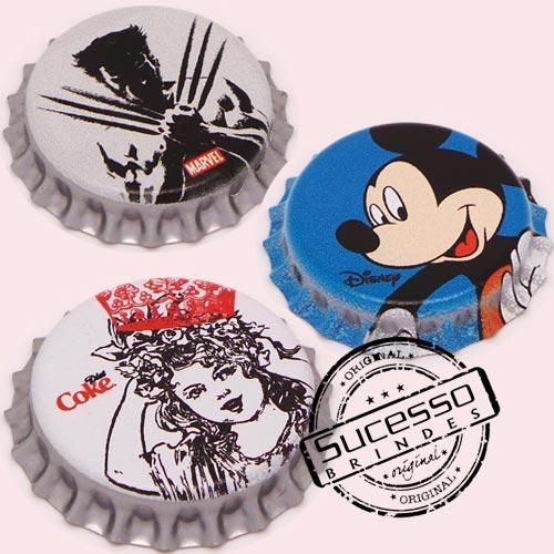 Pin em metal no formato de tampa de garrafa personalizado, tampinha, refrigerante, abridor de garrafa, Mickey, Wolverine