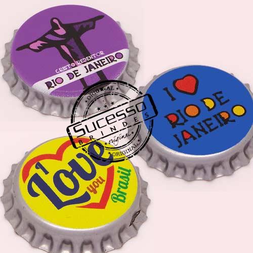 Pin em metal no formato de tampa de garrafa personalizado, tampinha, refrigerante, abridor de garrafa, Rio, Cristo, I love, Eu Amo, Love, Brasil