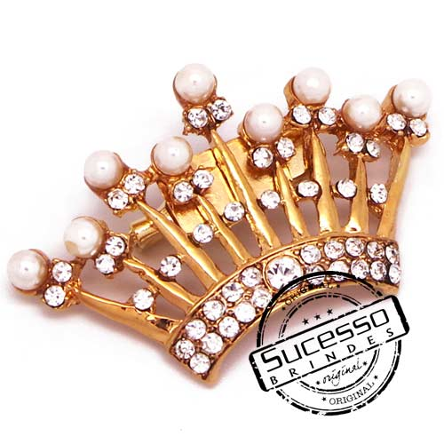 Pin, coroa, princesa, strass, mary kay
