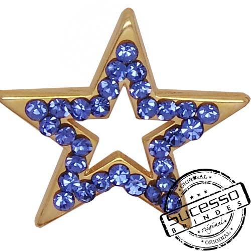 Pin, estrela, azul, strass, mary kay