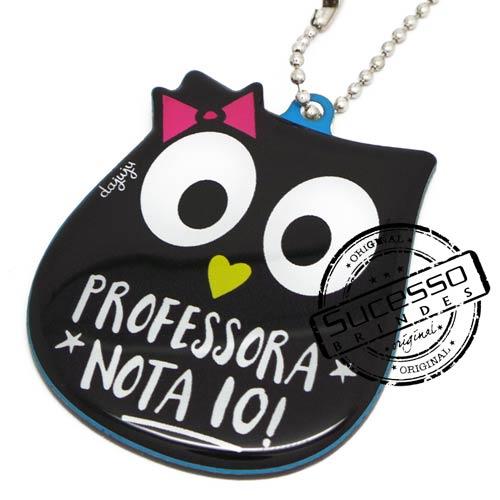 Projeto Especial Da Juju, chaveiro coruja, professora, nota 10