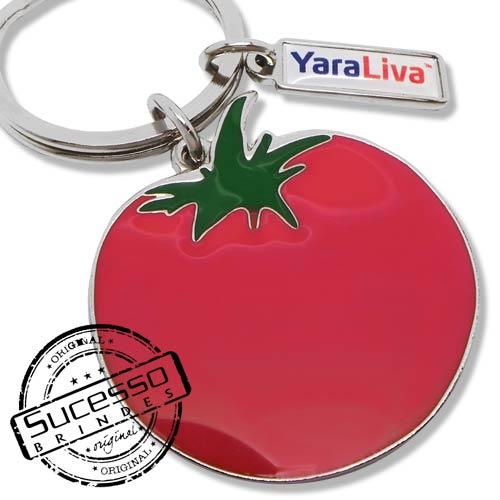 Chaveiro em Metal Esmaltado, Yara Liva, fruta, tomate