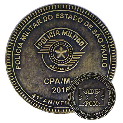 Moeda comemorativa, moeda personalizada, moeda em metal, moeda para premiação, moeda polícia