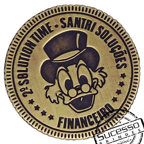 Moeda comemorativa, moeda personalizada, moeda em metal, moeda para premiação, moeda para comemoração, tio patinhas