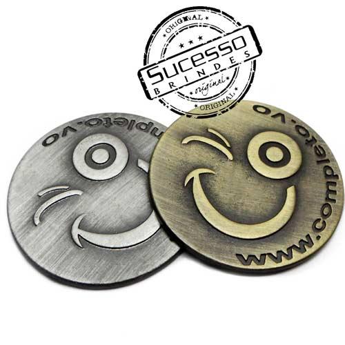 Moeda comemorativa, moeda personalizada, moeda em metal, moeda para premiação, moeda para comemoração, smile, sorriso,