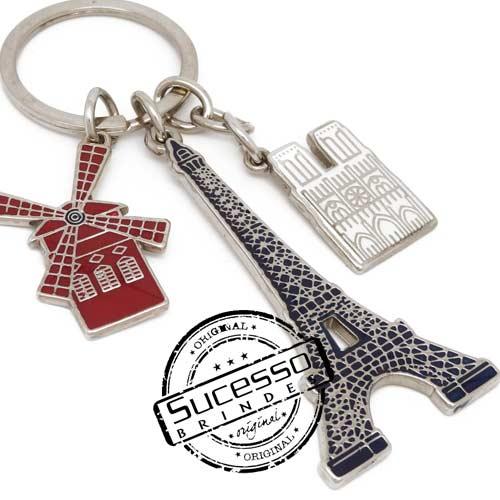 Chaveiro em metal viagem personalizado com seu logo, pises, turismo, Paris, Torre Eifel, Moulin Ruge, Notre Dame