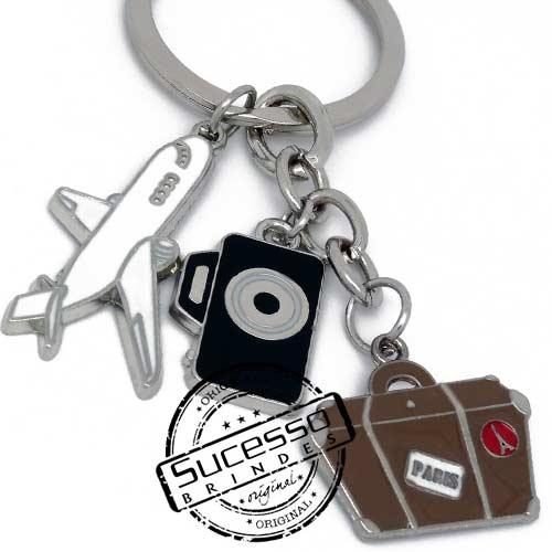 Chaveiro em metal viagem personalizado com seu logo, pises, turismo, Paris, avião, máquina fotográfica