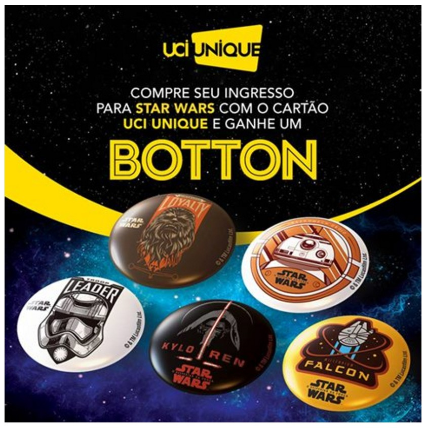 bottons brinde cinema Star Wars