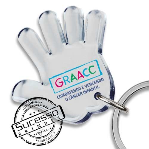 chaveiro mão, chaveiro mãozinha, chaveiro palma da mão, chaveiro no formato de mão, chaveiro graacc, chaveiro filantrôpico