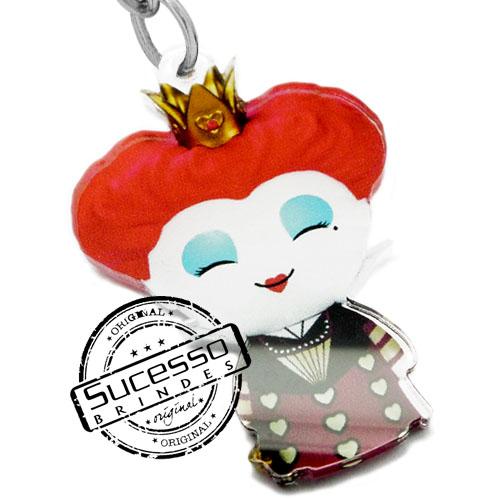 chaveiro personagem, chaveiro mascote, pingente personagem, pingente mascote, chaveiro boneco, chaveiro boneca, chaveiro rainha vermelha