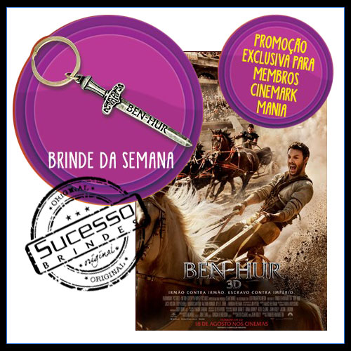 brinde para cinema, filme, movie, sala de cinema, estúdio, brinde do filme, produtoras, uci, moviecom, cinemax, cinemark, chaveiro, espada, arma, ben hur