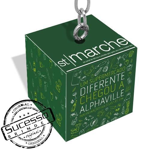 caveiro cubo, chaveiro quadrado, chaveiro dado, chaveiro 3d, chaveiro ecológico, chaveiro personalizado, chaveiro sustentável, st marchet, hypermercado, supermercado, delivery, caixa, box