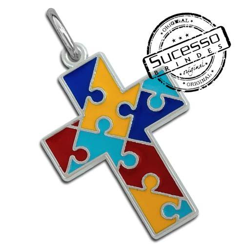 Pingente quebra cabeça, puzzle, autismo, cruz