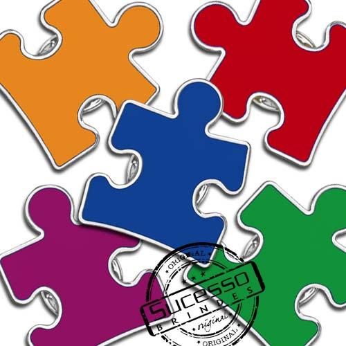 Pingente quebra cabeça, puzzle, autismo, pin, peça de quebra cabeça