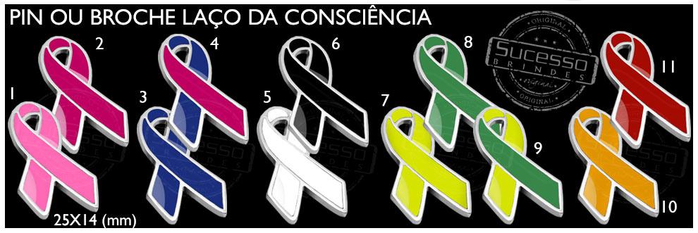 Os pins com lacinhos coloridos fazem sucesso em campanhas para conscientização do público, em várias causas nobres.