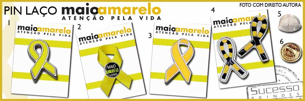 PINS E CHAVEIROS PARA CAMPANHA - MAIO AMARELO