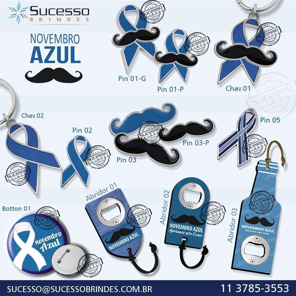 Campanha promocional, novembro azul, lacinho azul da consciência contra câncer de próstata.