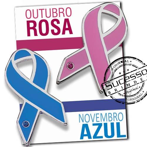 Pin Novembro Azul e Outubro Rosa, fabricado em metal.