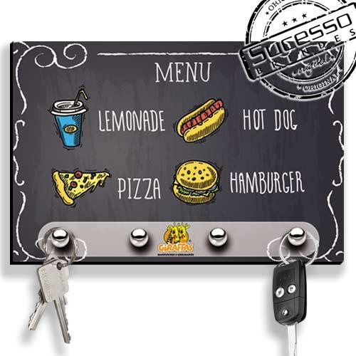 Porta Chave, brinde inovador, brinde novidade, porta chaves, lanchonete, restaurante, menu, giraffas