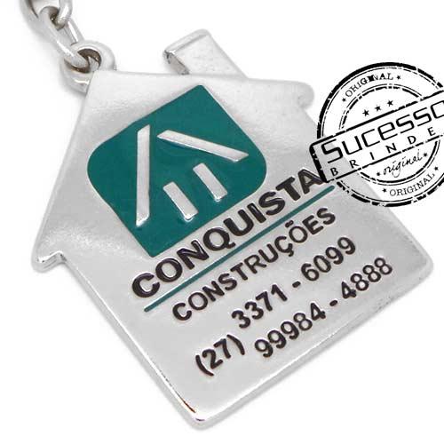316  Chaveiro esmaltado ou resinado com resina colorida personalizado no formato de casa