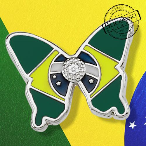 Pin borboleta com bandeira do Brasil
