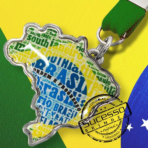 Chaveiro mapa do Brasil personalizado com a sua arte ou logo.