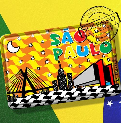 Imã de Geladeira personalizado com artes do Brasil - São Paulo