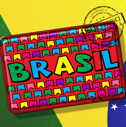 Imã de Geladeira personalizado com artes do Brasil bandeirinhas