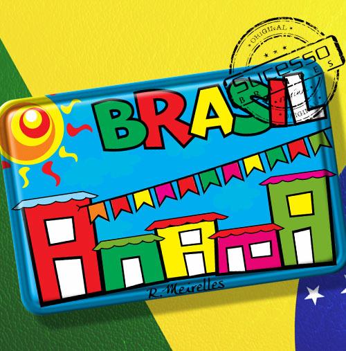 Imã de Geladeira personalizado com artes do Brasil - festa junina