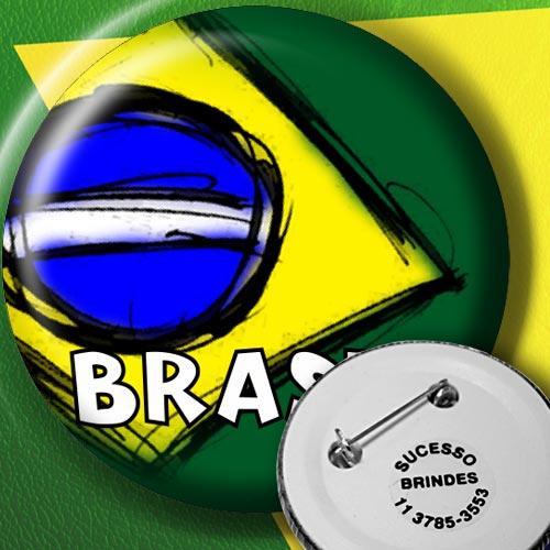Botton Personalizado Brasil utilizado como brinde em copa do mundo ou outros eventos.