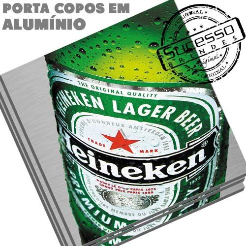 Porta Copo em Alumínio, brinde inovador, brinde diferente, cerveja, bebida, cerveja, heineken