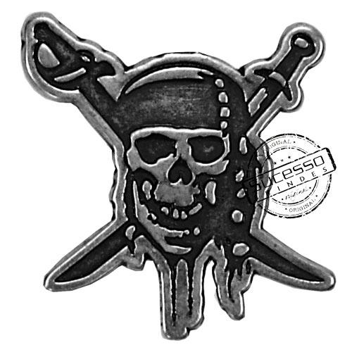 ímã ou magneto personalizado, fabricado em metal com relevos e resina colorida, modelo Piratas do Caribe