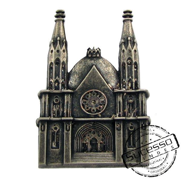 ímã ou magneto personalizado, fabricado em metal com relevos, modelos Catedral da Sé 3D, Sp.